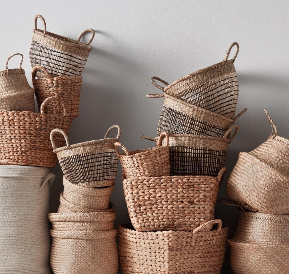 baskets H&M wicker woven stacked #designninja