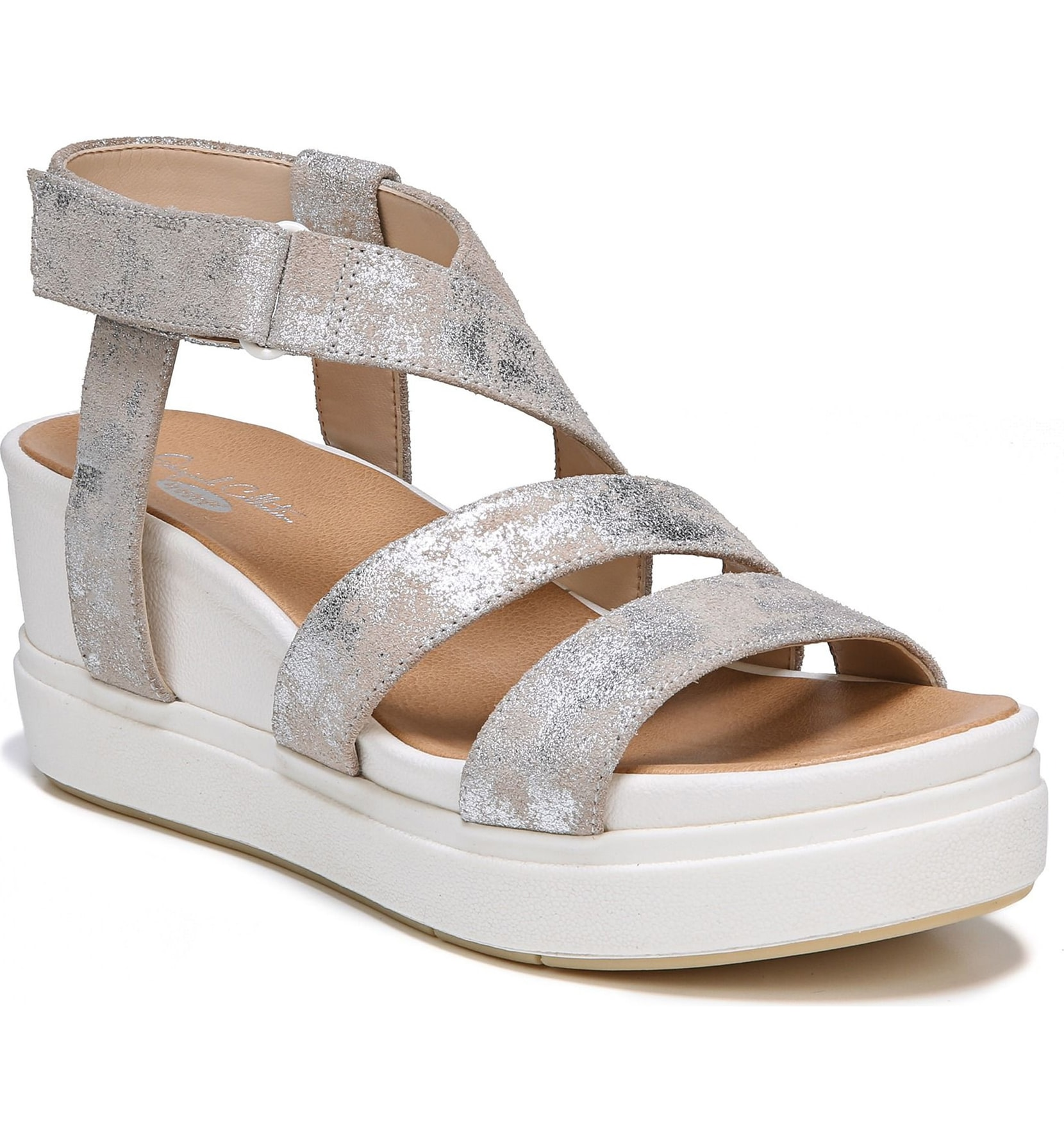 silver, metallic, leather, sandal, strappy, Dr Scholl's