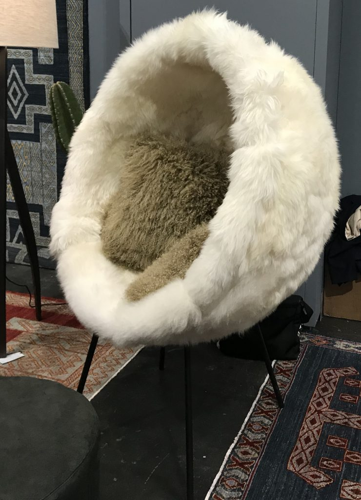 fluffy, ICFF, furry chair, egg chair, mongolian lamb fur, pillows, furniture, trends