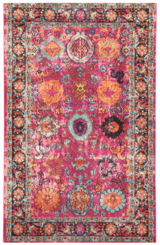 rug, lulu and georgia, keziah, pink, orange, kid friendly, colorful, fun, living room, family room, interior design, interior decorating
