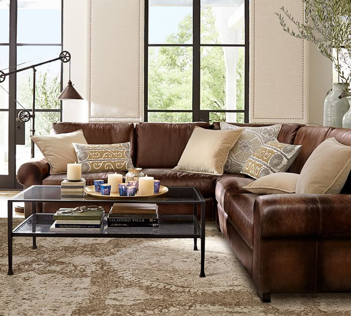 pottery barn, sectional, leather, living room, pillows, family room