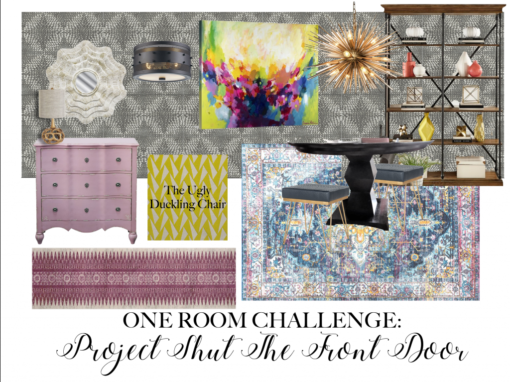 PROJECT SHUT THE FRONT DOOR, ONE ROOM CHALLENGE, BETTER HOMES AND GARDENS, ORC FALL 2018, #DESIGNNINJA, #ONEROOMCHALLENGE, #BHGORC, #PROJECTSHUTTHEFRONTDOOR, MOOD BOARD, DESIGN PLAN