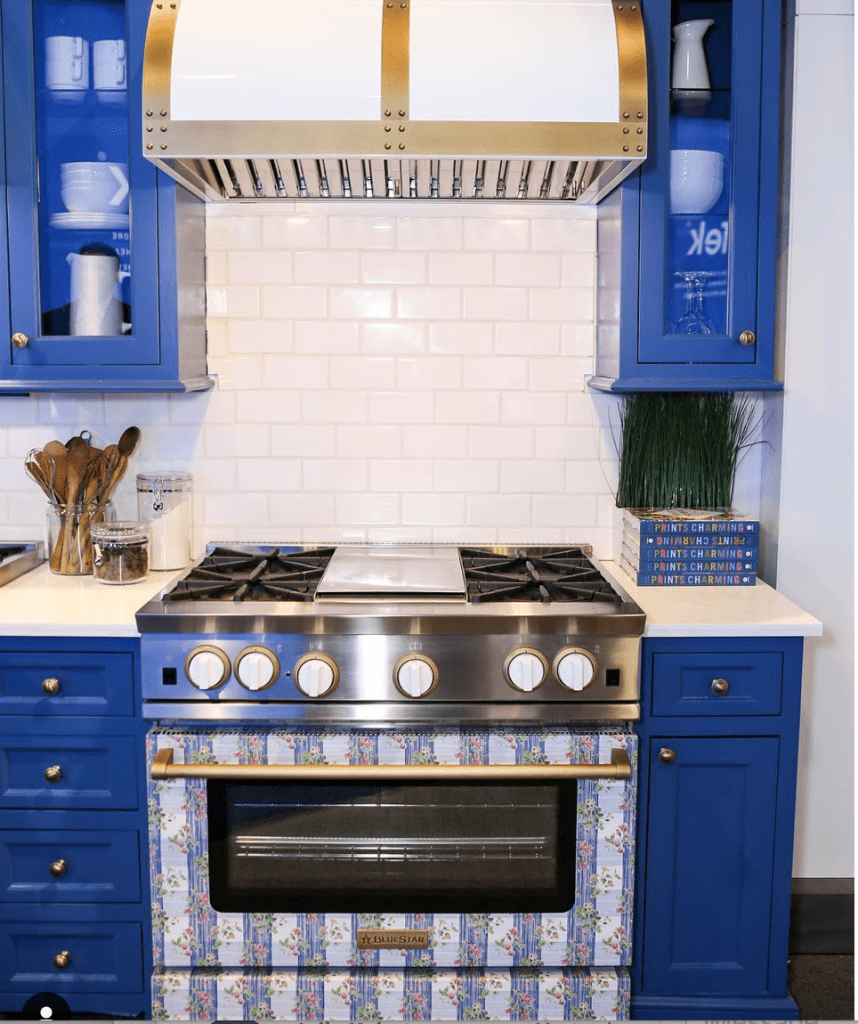 KITCHEN DESIGN, COLORFUL KITCHEN, CABINETRY, STOVE, HOOD, BLUESTAR, MADCAP COTTAGE, KBIS, 07974, CHRISTINE KOHUT INTERIORS, SUBWAY TILE