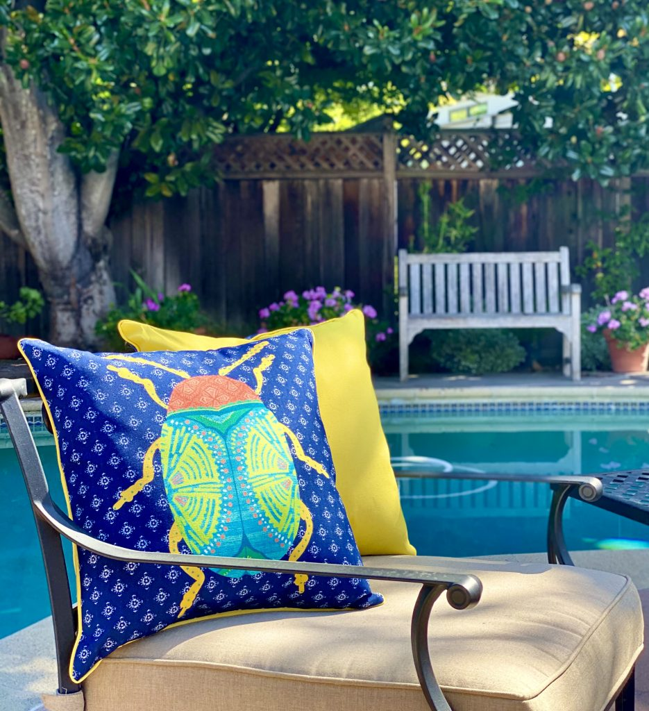 patio, outdoor cushion, colorful, beetle pillow, better homes and gardens, one room challenge, poolside