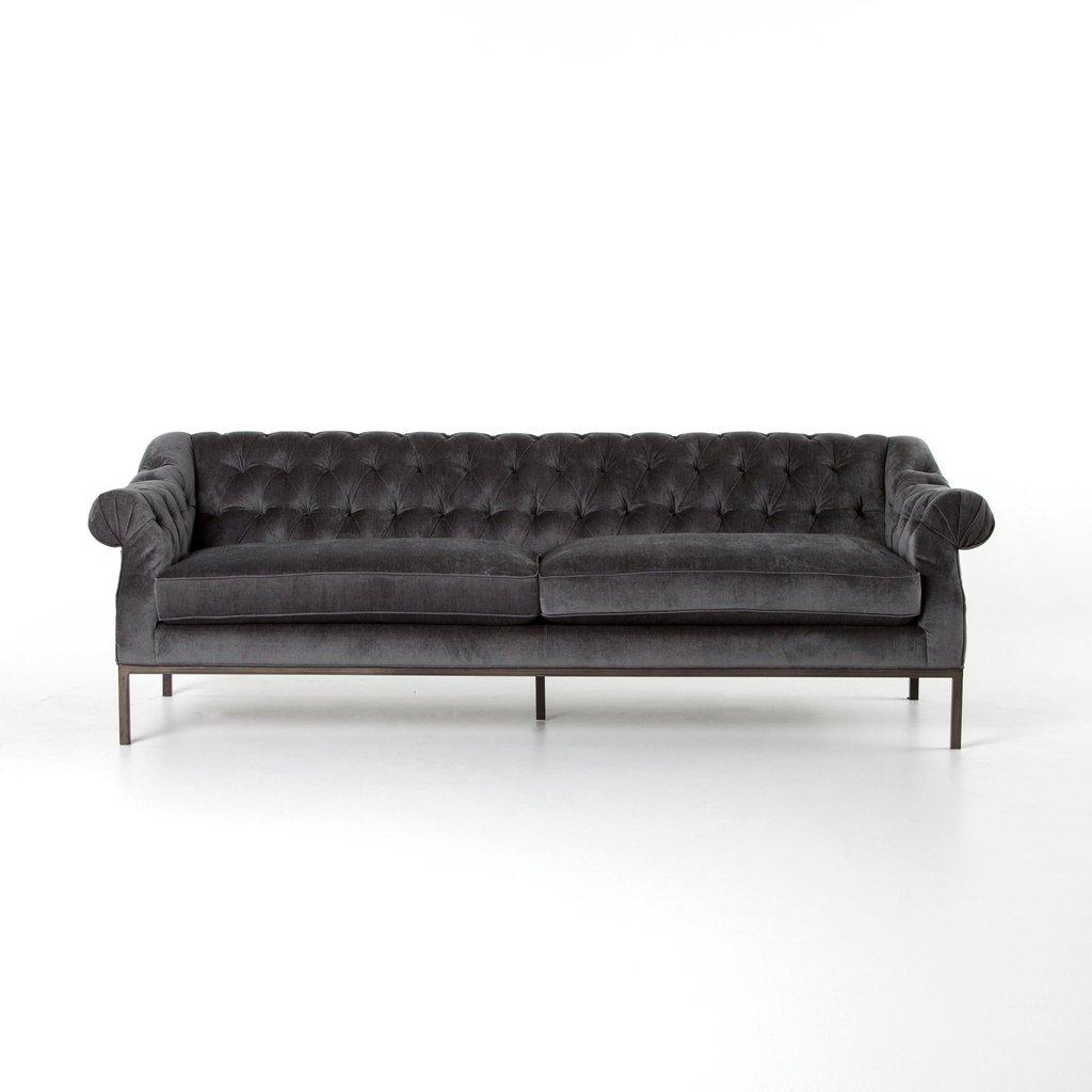 Christine Kohut Interiors, design ninja, charcoal velvet tufted sofa