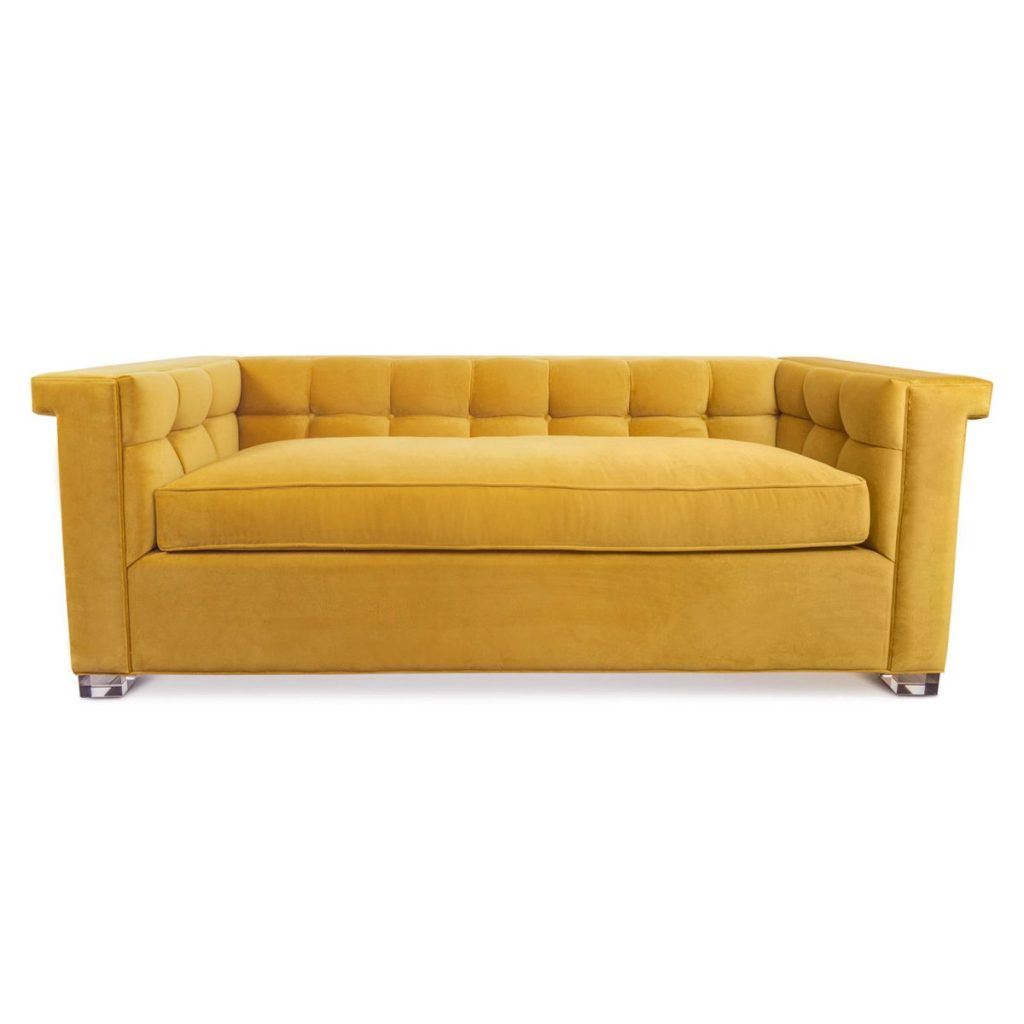 Christine Kohut Interiors, tufted sofa, dean martin sofa, marigold, velvet, design ninja
