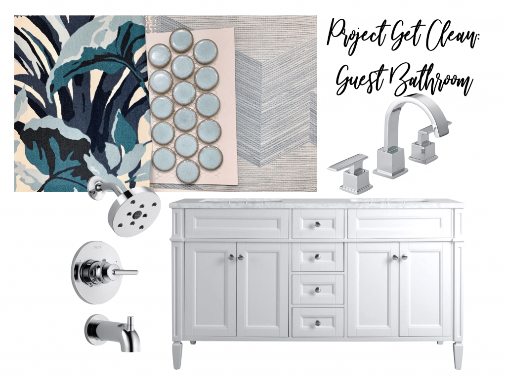 ONE ROOM CHALLENGE, ORC, BETTER HOMES AND GARDENS, #BHGORC, #ONEROOMCHALLENGE, #CKDESIGNNINJA #DESIGNNINJA, BATHROOM, DELTA FAUCET, WALLPAPER, BREWSTER WALLPAPER, MADCAP COTTAGE, SHOWER CURTAIN, CUSTOM MADE, PENNY ROUNDS, TILE, VANITY, CHROME, POLISHED NICKEL, #CKPROJECTGETCLEAN,  CHRISTINE KOHUT INTERIORS, TROPICAL, DESIGN BLOG, DESIGNHOUNDS, INTERIOR DESIGN