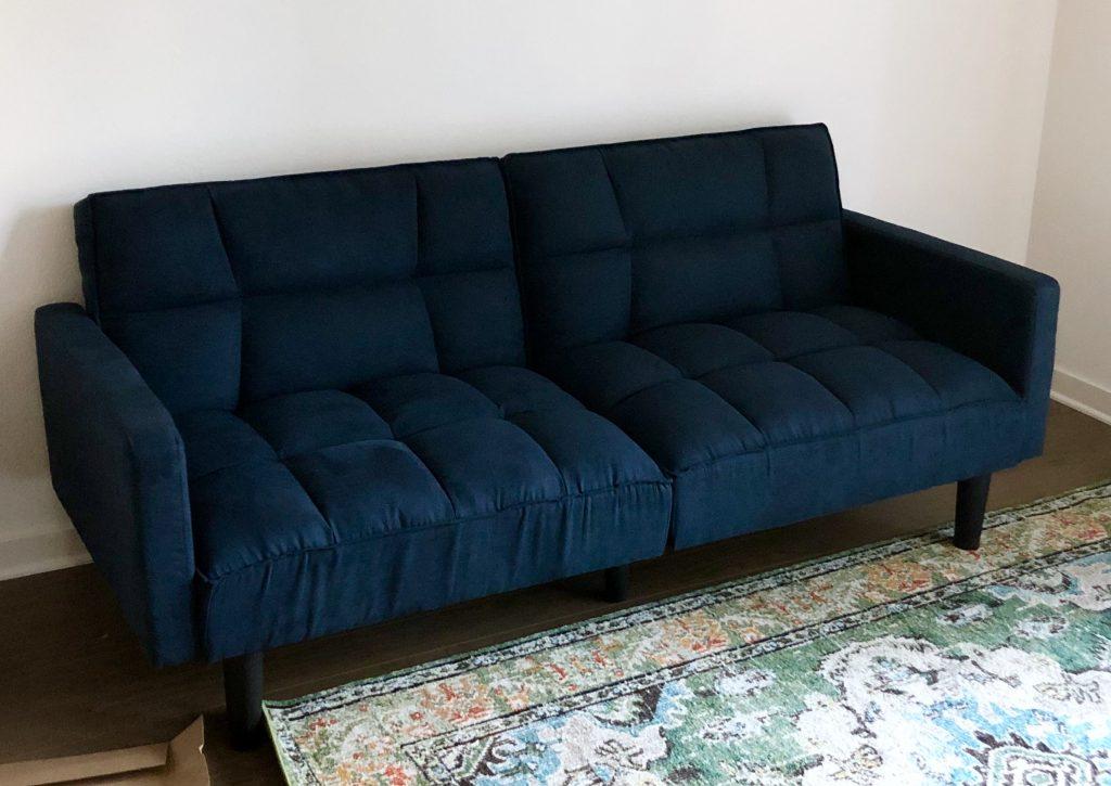 convertible sofa, blue velvet sofa, apartment size sofa, Christine Kohut Interiors, designninja, one room challenge, project coast to coast, better homes and gardens
