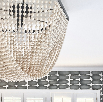 flush mount, beaded light fixture, wooden beads, wood and glass light, one room challenge, better homes and gardens, #CKdesignninja, christine kohut interiors, project coast to coast, #ckprojectcoasttocoast, guest bedroom, wallpaper, amazon affiliate