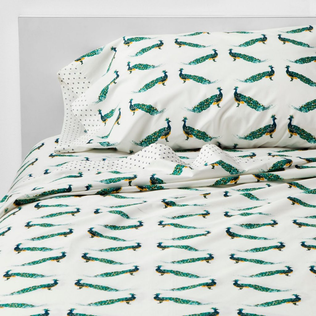 Design Ninja, Christine Kohut Interiors, peacock print cotton percale sheets for sale at Target