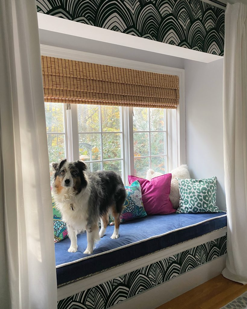 Christine Kohut Interiors #CKdesignninja, design ninja, one room challenge, better homes and gardens, delayed gratification, window seat cushion, microfiber, fabric paint, DIY, interior design, #projectkohutiscrazy, australian shepherd, ozzimus prime, throw pillows, green leopard print