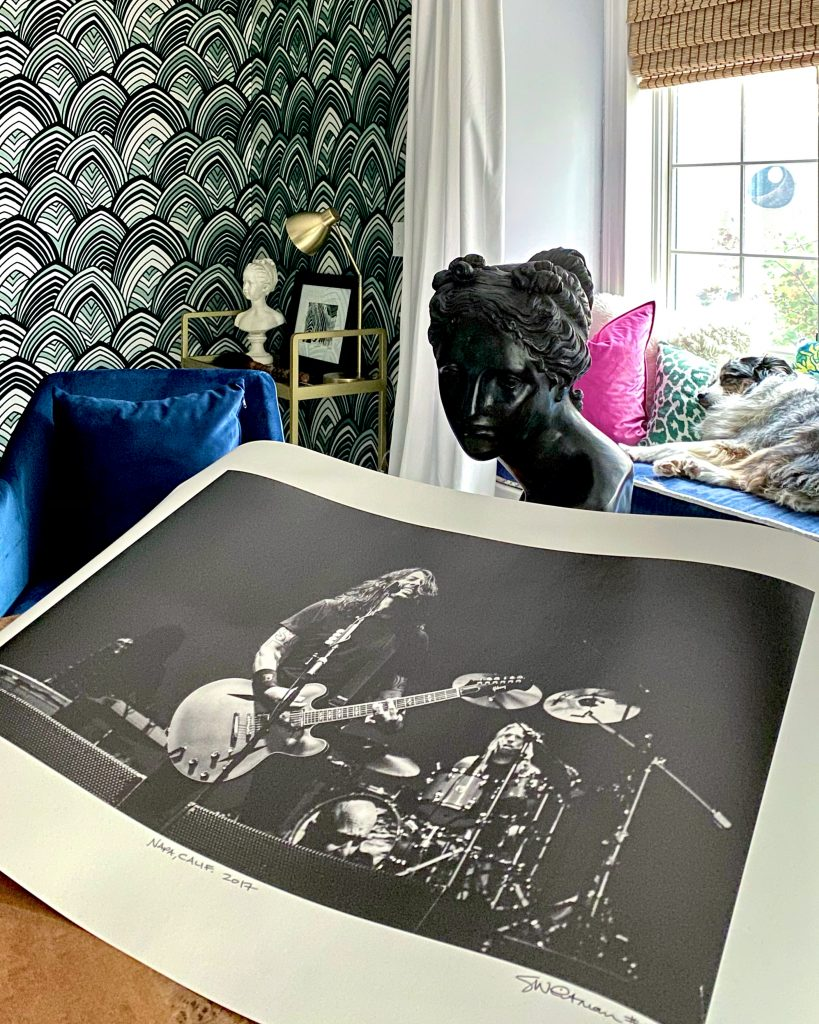 Christine Kohut Interiors, design blog, design hounds, decorating, foo fighters, dave grohl, geoff whitman photography, taylor hawkins, office design, sleeping dog, bronze statue, #CKdesignninja, design ninja, one room challenge, better homes and gardens, delayed gratification, interior design, wallpaper, #projectkohutiscrazy,