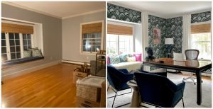 One Room Challenge, #CKdesignninja, Christine Kohut Interiors, Better Homes and Gardens, Project Kohut is Crazy, #projectkohutiscrazy, before and after, interior design, makeover, window seat, office, wallpaper, ORC, BHGORC, Design Ninja, Novogratz, Great Big Canvas, Brewster Home