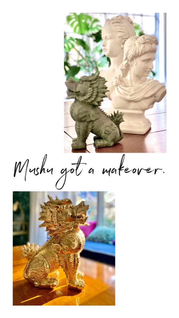 Christine Kohut Interiors #CKdesignninja, design ninja, one room challenge, better homes and gardens, delayed gratification, interior design, wallpaper, #projectkohutiscrazy, estate sale, marble bust, dragon, mushu, Mulan, thrifting, spray paint, gold metallic