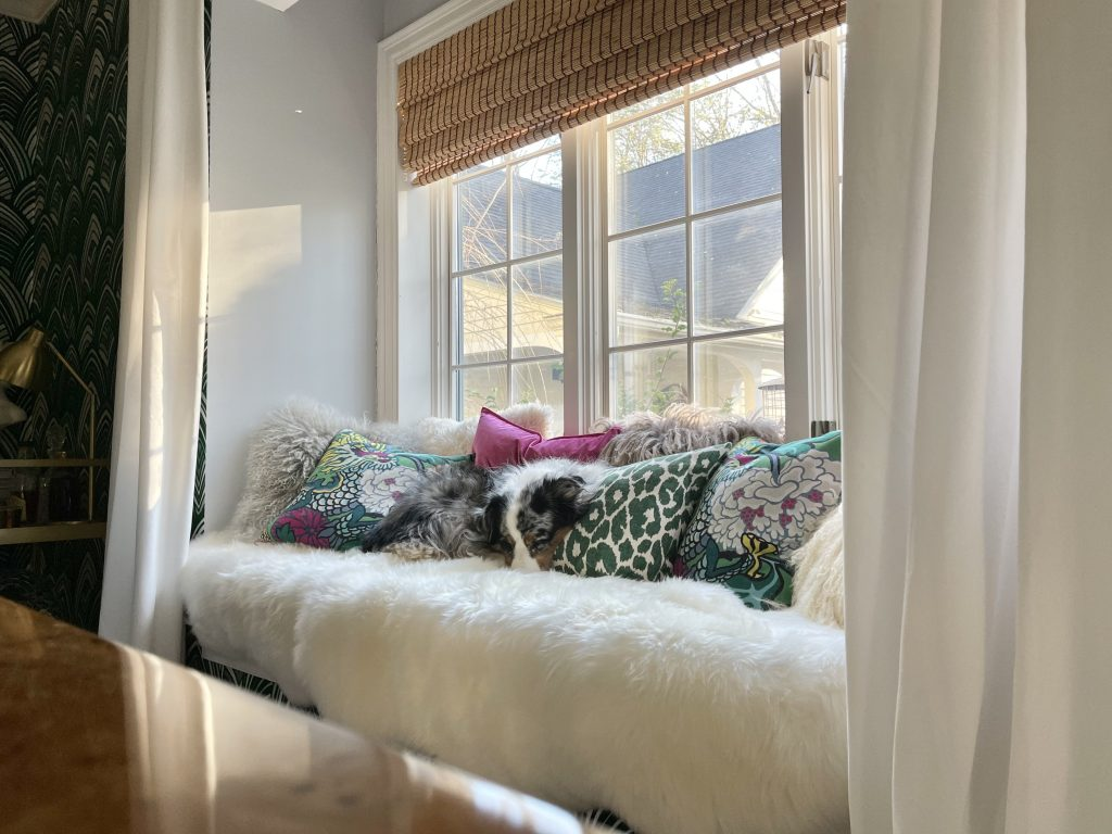 #CKdesignninja, window seat, sheepskin rug, snuggle, australian shepherd, throw pillows, mongolian sheepskin, ming dragon, Christine Kohut Interiors, flannel sheets, thread count, warp and weft, soft sheets, hotel bed, boll and branch, duvet, pillows, sheets, king size bed, mattress, organic, fair trade, buffalo check, percale, bedroom, interior design, bedding